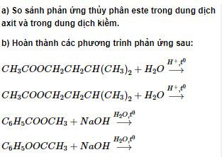Bài 3 trang 7 sách Giáo khoa Hóa học 12 Nâng cao